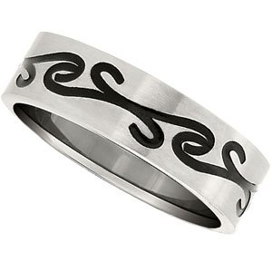 6.5 mm Titanium and Black Scroll Designer Comfort Fit Ring Size 8.5