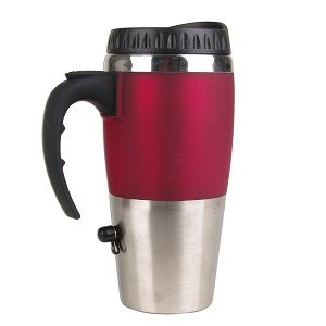16oz Electronic Travel Cup Warmer w/USB Charger (Silver/Red) (Usb Cup Heater compare prices)