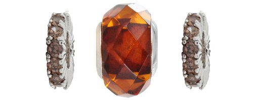 Chrysalis 92.5 Sterling Silver Rhodium Plated Faceted Amber and Cubic Zirconia Three Bead Spacer Box Set