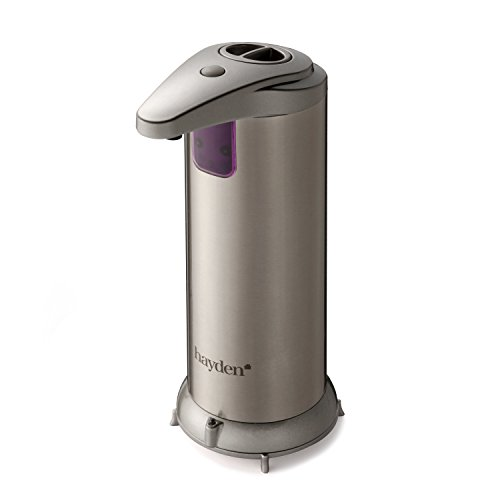 the original hayden premium automatic touchless soap dispenser perfect for bathroom or kitchen fingerprint resistant stainless steel brushed nickel - Automatic Soap Dispenser