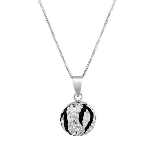 Sterling Silver Black White Swarovski Crystal Elements Pendant Necklace with 18