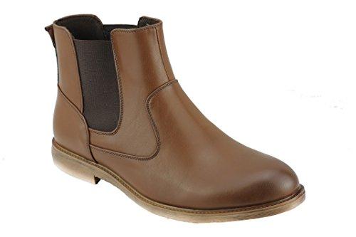 Xposed da uomo in pelle sintetica Chelsea stivali stile italiano Smart Casual Dealer caviglia scarpe Nero Marrone, marrone (Tan), 43 EU