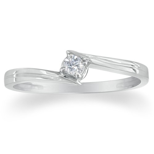 Sterling Silver Diamond Solitaire Promise Ring .07Ct Tw (Sizes 4-9)