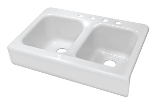 Lyons Industries DKS01AP-3.5 Designer White Apron Front Dual Bowl Acrylic 10-Inch Deep Kitchen Sink