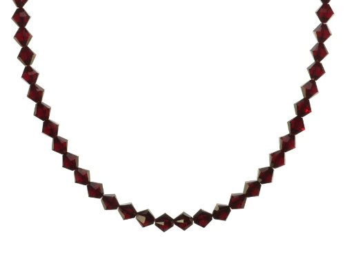 Sterling Silver Swarovski Elements Siam Colored 8mm Beaded Necklace, 18