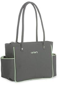Carter's Travel Light Mini Diaper Bag - Grey with Mint Green Trim Accents & Tonal Dot Lining