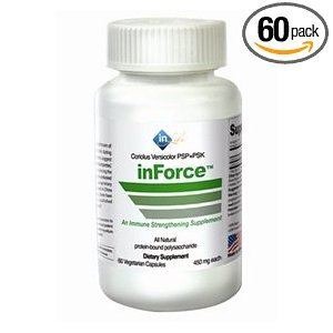 inForce Immune System Builder & Support with Coriolus Versicolor PSP & PSK . 60 - 450mg Vegetarian Capsules. An All Natural Daily Dietary Supplement.