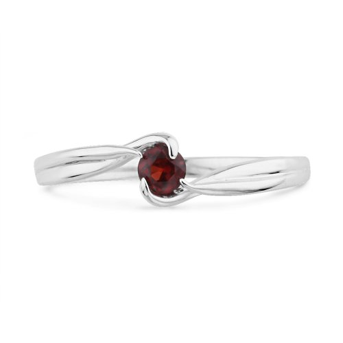 Platinum Plated Sterling Silver Red Garnet Round Diamond Fashion Ring (0.13 Cttw) (7.5)