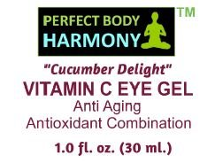 """Cucumber Delight"" ANTI AGING EYE GEL with 5.0% VITAMIN C & 70% Organic Ingredients Incl. Botanical Hyaluronic Acid, 1.0 (30 ml) Glass Jar, NO SULFATES, PARABENS, or ANIMAL TESTING! The Best!"