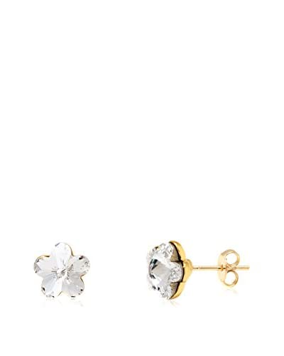 Sweet & Soft 18K Gold Plated and Clear Swarovski Elements Flower Stud Earrings