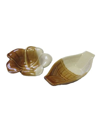 Brown Ceramic Flower , Boat Shaped Sauce And Dipping Dishes - Set Of 4.