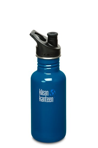 Klean Kanteen Classic Water Bottle With Sport Cap, 27-Ounce, Blue Planet front-1001726