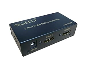 ViewHD 2 Port HDMI 1x2 Powered Splitter Ver 1.3 Certified for Full HD 1080P & 3D (One Input To Two Outputs)