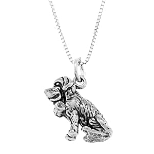 Sterling Silver Saint Bernard Dog Necklace