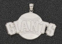 San Francisco Giants Giant 2 1 4 W x 1 1 4 H Giants with Baseball Pendant - 14KT Gold... by Logo Art