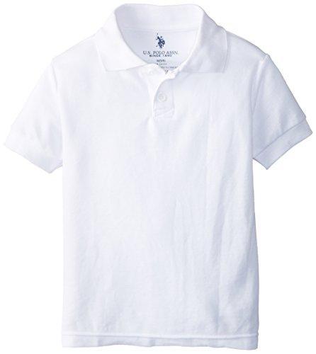 U.S. Polo Assoiciation School Uniform Little Boys' Short Sleeve Pique Polo, White, 4
