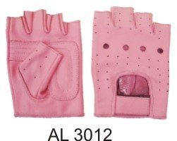 Ladies Pink Leather Fingerless Gloves W/Padded Palm AL-3012-XL
