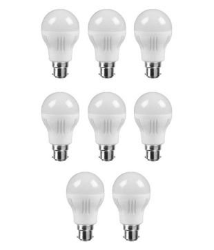 4W Virgin Plastic LED Bulb (White, Pack Of 8)