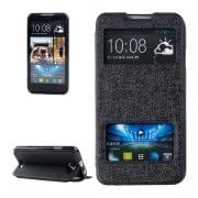 Oracle Texture Horizontal Flip Leather Case with Call Display ID Holder for HTC Desire 516 / D516W(Black)
