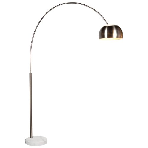 Sonneman 4096G Arc 1 Light Floor Lamp With Nickel Shade, Satin Nickel
