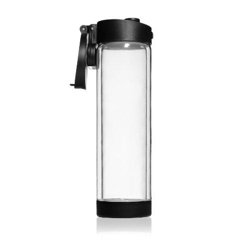 Shatterproof Glass Water Bottle - 16Oz - Double Walled - Black Flip Cap Sports Water Bottle