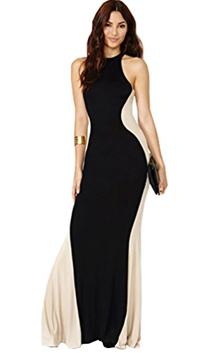 Lovaru Women'S Optical Illusion Patchwork Sleeveless Off Shoulder Black Party Long Dress