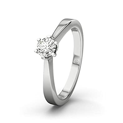 21DIAMONDS Women's Ring Faro 0.25 ct Brilliant Cut Diamond Engagement Ring, 9ct White Gold Engagement Ring