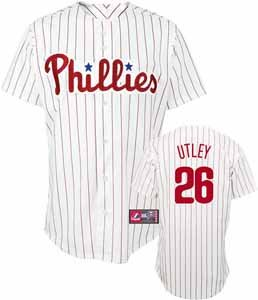 MLB Youth Philadelphia Phillies Chase Utley White/Scarlet Pinstripe Home Short Sleeve Replica Button Front Jersey By Majestic (White/Scarlet Pinstripe, Medium) at Amazon.com