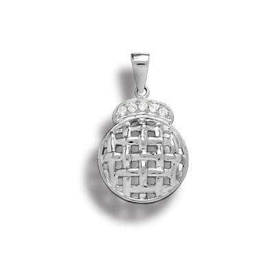 Fashion Necklace Pendant Jewelry Sterling Silver Plated Quiltedin. Circle Design with Clear CZ(WoW !With Purchase Over $50 Receive A Marcrame Bracelet Free)