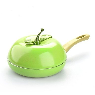 Non-Stick Apple Type Fry Pan with Cover Aluminium Alloy 13.9″7.9″*2″