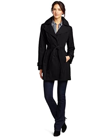 London Fog Women's Amy Trench Coat, Black, X-Large