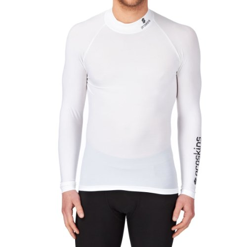 Proskins Active Compression Long Sleeve High Neck Running Top - White