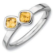 0.54ct Silver Stackable Db Cushion Cut Citrine Ring. Sizes 5-10