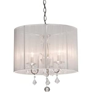 Mini Chandelier String Lights : Artcraft Lighting AC380WH Claremont 4-Lite Mini Chandelier, Polished Nickel with Silk String ...