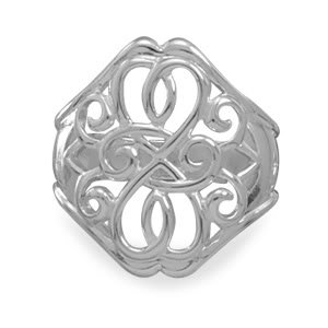 Sterling Silver Ring with Filigree Design / Size 6