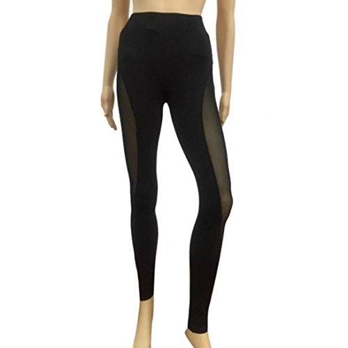 Wensltd Women Mesh Yoga Pants Outdoor Gym Fitness Elastic Joggers Legging (L, Black)
