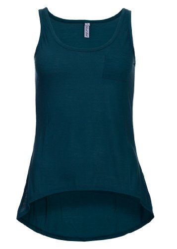 Eight2Nine Damen Top by Fresh Made Vokuhila Brusttasche Single Jersey UNI petrol blau