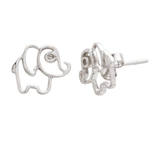 Sterling Silver Children's Elephant Button Earrings