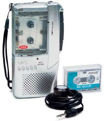 COBY MICROCASSETTE RECORDER w/ CASSETTE  TAPE & PHONE PICK UP