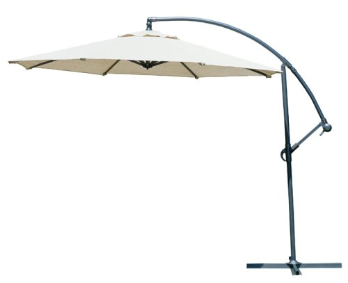 Coolaroo 10 Foot Round Cantilever Freestanding Patio Umbrella, Smoke