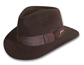 Indiana Jones Men's Water Repellent Wool Felt Fedora, Brown, Small