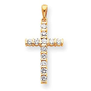 IceCarats Designer Jewelry 14K Aa Diamond Latin Cross Pendant