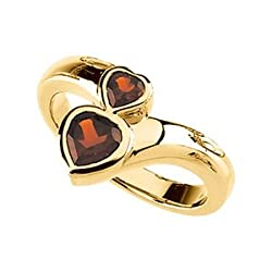 06.00/04.00MM 14K Yellow Gold Genuine Mozambique Garnet Heart Ring