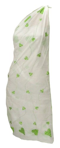 La Leela Designer Sweet-heart Chain Stitched Embroidered White Beach Swim Sarong Pareo Valentine's Day Gift