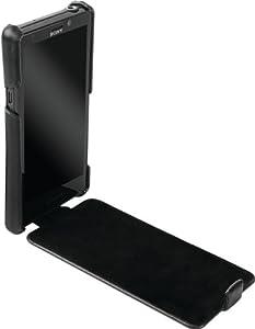 Krusell SLIMCOVERXPERIAT Coque ultra fine avec flip en cuir pour Sony Xperia T Noir