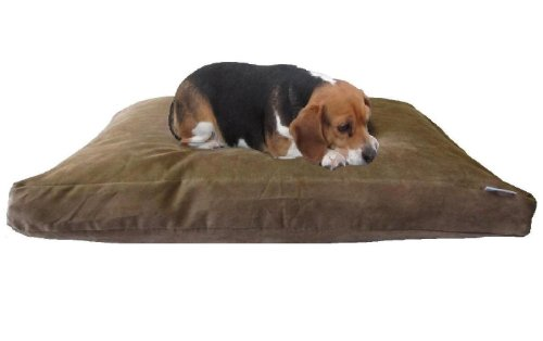 XXL Extra Large Overstuffed Orthopedic Foam Pet Bed Pillow for Big Dog with Brown Suede Durable Dog Bed Cover