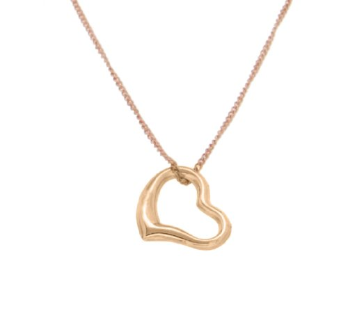 9ct Rose Gold Open Heart Pendant on Curb Chain Necklace 46cm/18