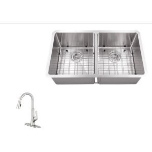 Schon SC2467550SS Combos Stainless Steel All-in-One Undermount Stainless Steel 30 Inch 0-Hole Double Bowl Kitchen Sink with Faucet