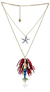 "Betsey Johnson ""Shell Shocked"" Mermaid and Starfish 2-Row Necklace, 19"""