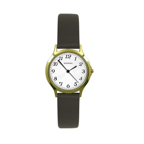 Sekonda Ladies Analogue Gold Plated White Dial Black Strap Casual Watch 4134